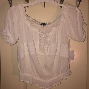 Ambiance/Charlotte Russe white crop top